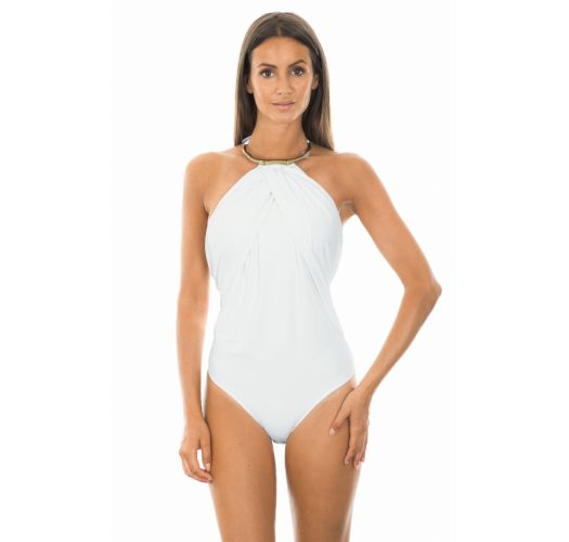 Draped one-piece swimsuit in white, fully lined, gold necklace detail - BAMBOO WHITE MAILLOT