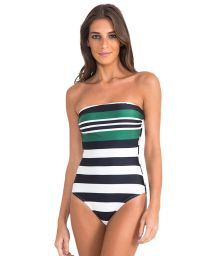 One-piece luxury striped bandeau swimsuit - BASIC BANDEAU MAILLOT STRIPES