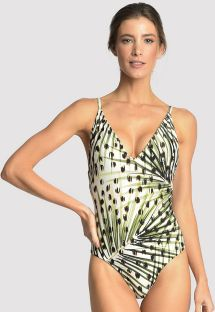 Luxurious leopard print one-piece swimsuit - BASIC V MAILLOT CHEETAH