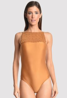Luxurious one-piece swimsuit with macrame neckline - BASKETRY GOLDEN GRASS
