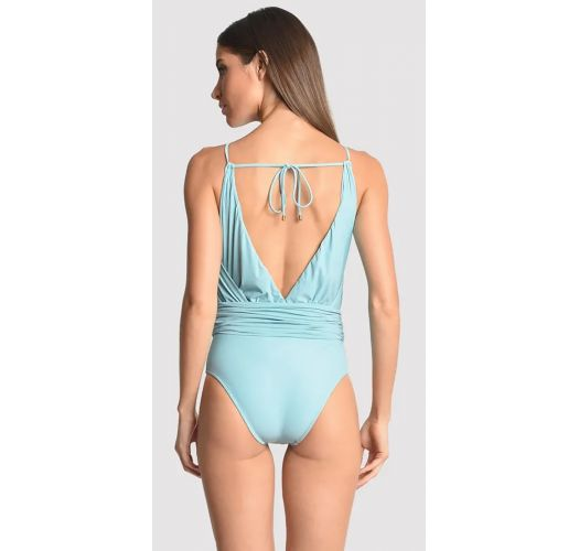 Sky blue V neckline swimsuit with beads - BEADED SEA WATER