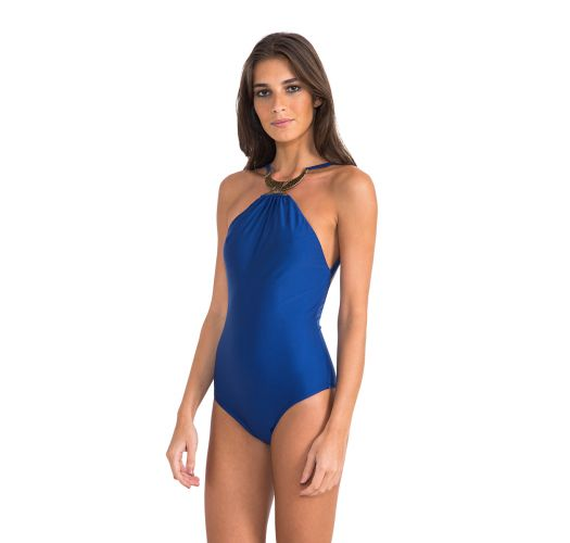 Luxury royal blue one-piece swimsuit with necklace - BERBER TOUAREG HALTER ONE PIECE