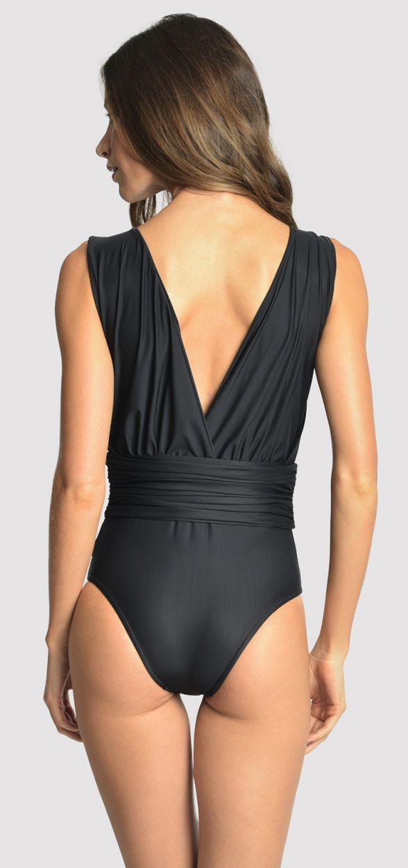 Svart baddräkt- draperad framtill - CACHECOEUR RUCHED BLACK