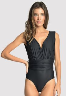 Draped black one-piece swimsuit with deep V neckline - CACHECOEUR RUCHED BLACK