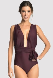 Maillot une pièce luxe aubergine multipositions - CHIC HALTER EGGPLANT
