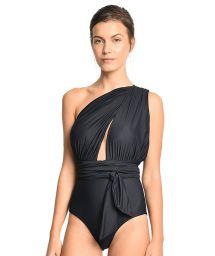 Lyxig, svart hel baddräkt med justerbara draperingar - CHIC MAILLOT