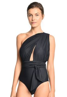 Luxe black draped one-piece swimsuit various styles - CHIC MAILLOT