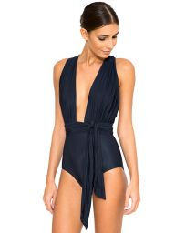 Marine blue one-piece swimsuit which can be worn in multiple positions - CHIC MARINE