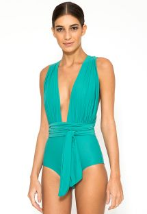 Blue one-piece swimsuit which can be worn in multiple positions - CHIC OCEANIQUE