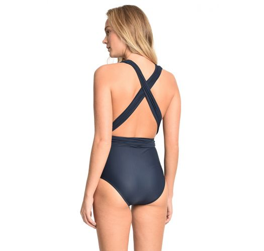 Luxurious dark blue one-piece swimsuit with multi-way styling - CHIC SAFIRA