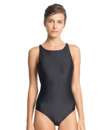 Luxe black one-piece swimsuit with leather detail - CORAL BLACK