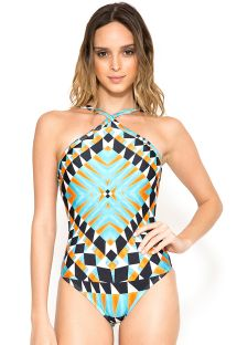 Geometric luxury one-piece swimsuit - CROSSED ORIGANI