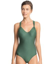 Luxe dark green crossover-back one-piece swimsuit - DECO LENNY
