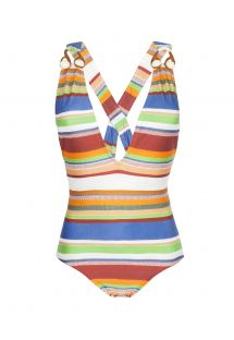 Striped one-piece swimsuit, plunging neckline, runway item - DEEP V RUNWAY MAILLOT CRETA