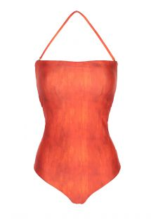Orange one-piece bustier swimsuit, multi-strap back - DETAILED BACK MAILLOT