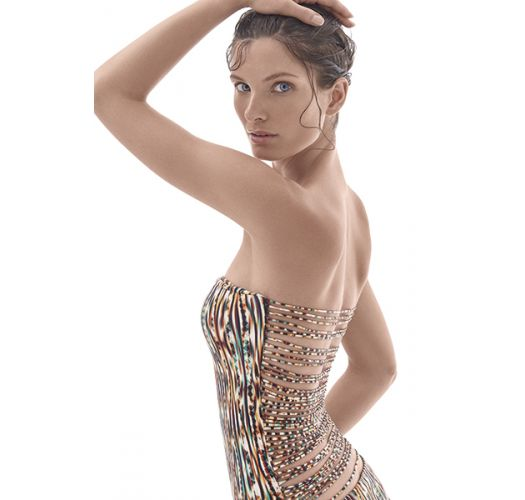 Maillot une pièce bustier, dos multi liens - DETAILED BACK MAILLOT THAY