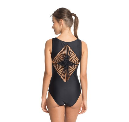 Black one-piece swimsuit laced straps in back - DIAMOND STRAPS
