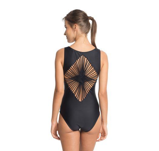 בגד ים חלק אחד צבע שחור, גב עם רצועות מוצלבות - DIAMOND STRAPS