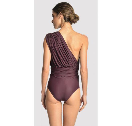 Asymmetric luxurious eggplant one-piece swimsuit with drape - DRAPED EGGPLANT
