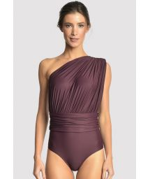 Hel, asymmetrisk lyxig baddräkt med lilafärgad drapering - DRAPED EGGPLANT