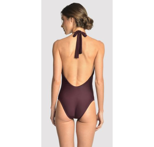 High neck luxurious eggplant one-piece with jewelry - EMBELLISHED EGGPLANT