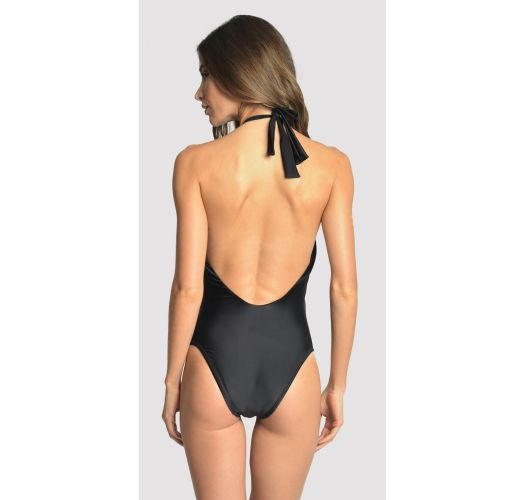 Black high-neck swimsuit with beads and multi-position straps - EMBELLISHED HIGH NECK BLACK