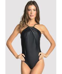 Цельный купальник люкс черного цвета со складками игорловиной с колье - EMBELLISHED HIGH NECK BLACK