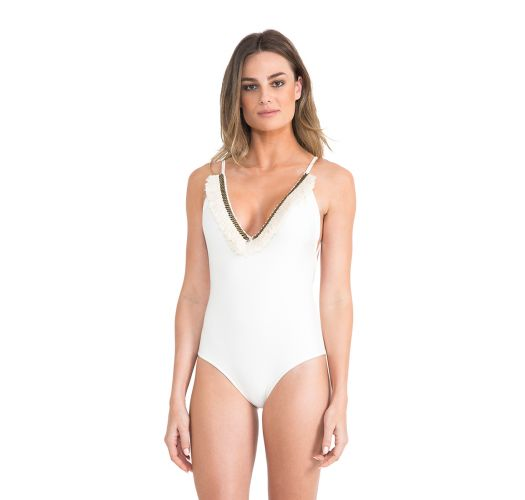 d14b08f3a6 One-piece White Swimsuit With A Frilled Neckline - Fringe Maillot Off White  - Lenny Niemeyer