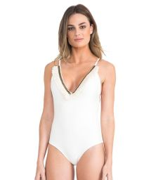 One-piece white swimsuit with a frilled neckline - FRINGE MAILLOT OFF WHITE