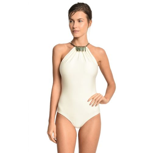 Ecru one-piece swimsuit with necklace detail - GAVIAO BRANCO