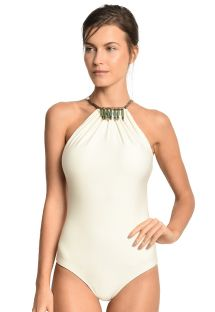 Ecru one-piece swimsuit with necklace detail - GAVIAO BRANCO
