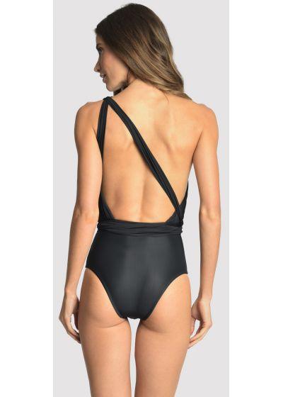 Svart, asymmetrisk draperad baddräkt - GREEK ONE SHOULDER BLACK