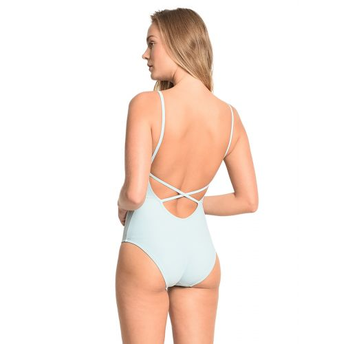 Luxurious light blue one-piece swimsuit with plunging neckline - LITORAL CEARENSE