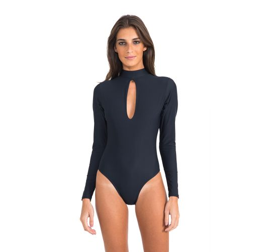 Luksuriøs, sort body, choker-stil, lange ermer - LONG SLEEVE DROP MAILLOT BLACK