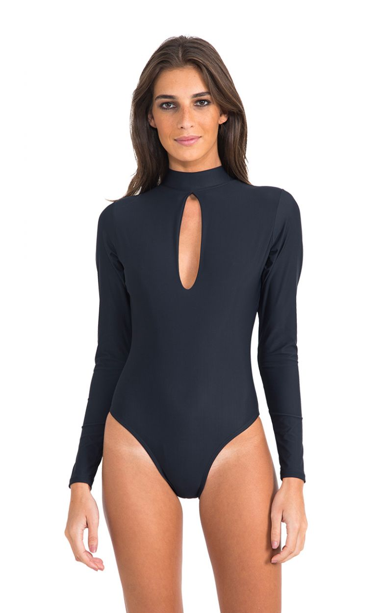 Black luxury choker-style bodysuit with long sleeves - LONG SLEEVE DROP MAILLOT BLACK