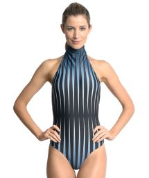 Runway one-piece swimsuit in a blue graphic print - LUZ NASCENTE