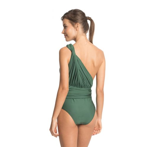 Green ruched asymmetrical one-piece swimsuit - ONE SHOULDER DRAPED