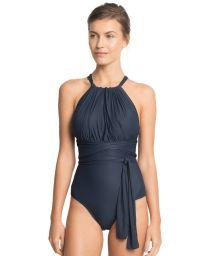 Dark blue draped one-piece tie-waist swimsuit - PRAIA AZUL