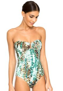 Bandeau one-piece swimsuit with snake print - SHIN BANDEAU