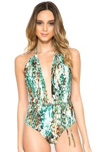 One-piece swimsuit with snake print and plunging neckline - SHIN HALTER