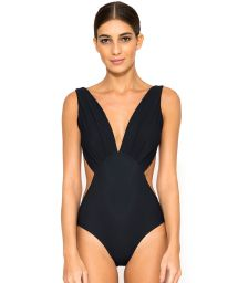 Black luxury trikini with plunging neckline - SLIT BLACK