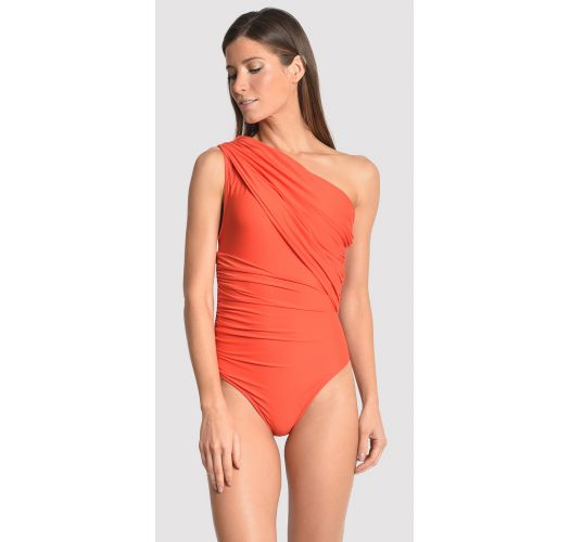 Asymmetric draped orange one-piece swimsuit - runway model - SLIT RUNWAY GUARA