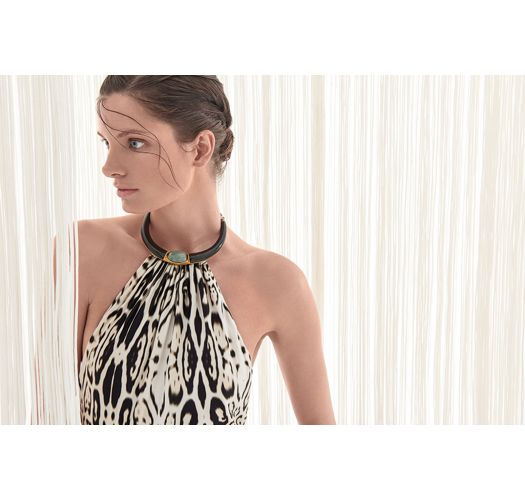 One-piece swimsuit with necklace, black and white leopard - STONE NECKLACE MAILLOT LEOPARD