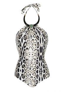 Jednodijelni kupaći kostim s ogrlicom te crno-bijelim motivom leoparda - STONE NECKLACE MAILLOT LEOPARD