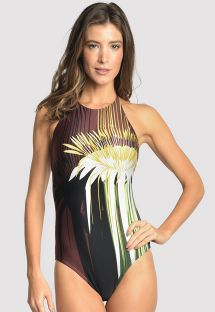 Luxurious one-piece swimsuit T back - STRAPS PASSION FLOWER