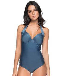 Dark blue halter one-piece swimsuit - ALÇA ELEGANCE