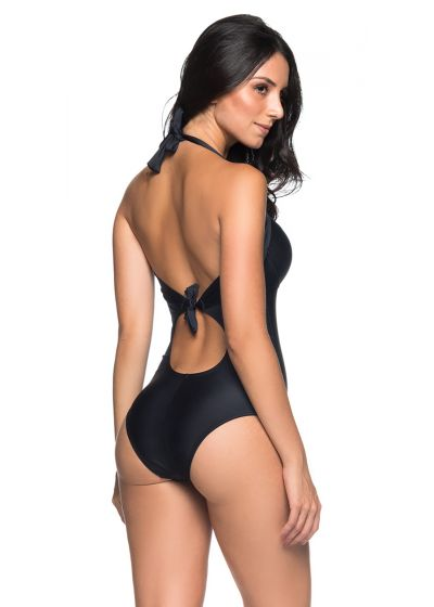 Black one-piece swimsuit with shell-like cups - ALÇA PRETO
