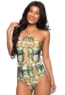 Colorful swimsuit with front transparency and laced back - AMARRAÇÕES PAQUETARIA