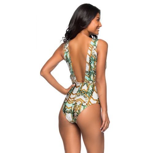 Colorful deep V neckline swimsuit - BODY CHAIN PAQUETARIA
