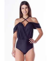 Black one-piece swimsuit with drooping sleeves - CIGANA PRETO